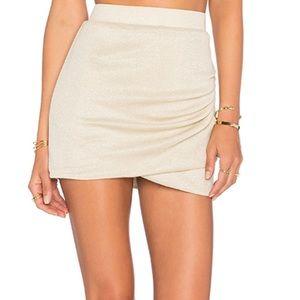 Revolve X Alexis Ren Voyage Skirt Gold Jersey S